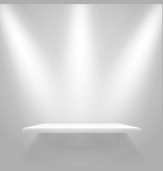 White illuminated shelf on wall mockup vector