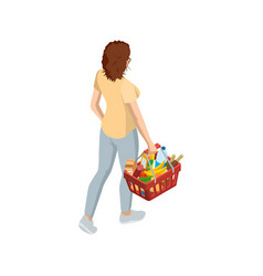 Woman with grocery basket cart from supermarket on vector