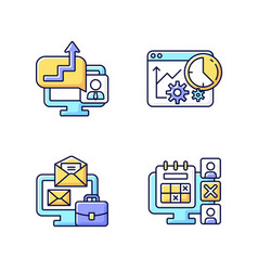 Work trackers rgb color icons set vector