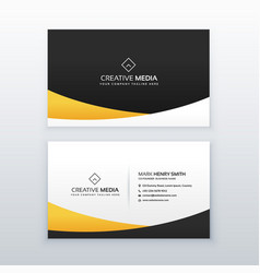 yellow and black business card design in clean vector image