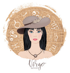 zodiac signs virgo in image of beauty gi vector image