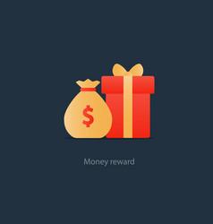 red gift box and money bag reward concept bonus vector image