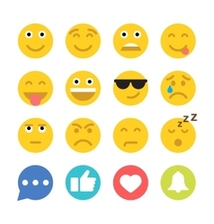 Set of Emoticons and Social Network Icons Flat vector image vector image