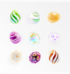 Set of glass eggs with abstract pattern vector