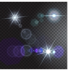 Set of realistic flares on transparent background vector image