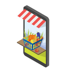 buy shopping cart full of vegetables vector image vector image