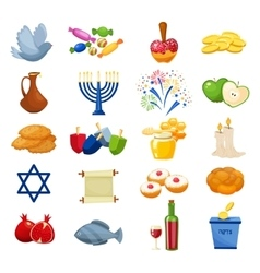Various symbols and items of hanukkah celebration vector image
