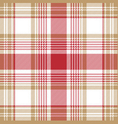 beige red white check plaid seamless pattern vector image vector image
