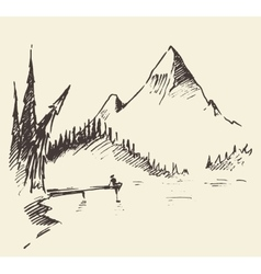 Drawn landscape mountain lake fir forest vector image