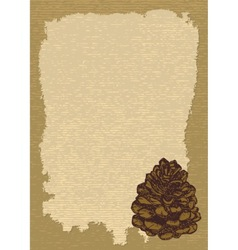 paper with pinecone vertical vector image vector image