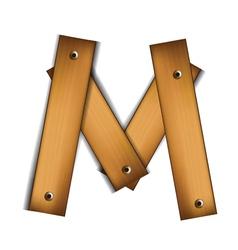 wooden type m vector image vector image