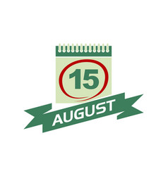 15 august calendar with ribbon vector
