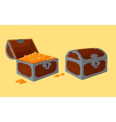 Opened and closed chests with treasure vector image vector image