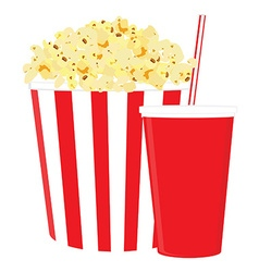 Popcorn and drink vector image vector image