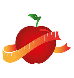 silhouette color with apple and measuring tape vector image