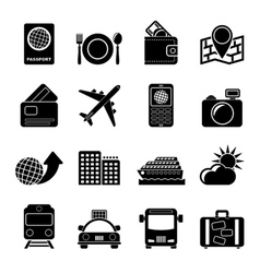 Silhouette travel transportation and vacation vector image vector image