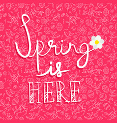 spring season card quote on doodle background vector image vector image