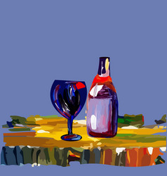 a glass with a bottle of wine on the table vector image