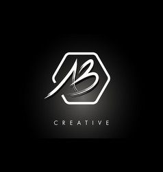 Ab a b brushed letter logo design with creative vector