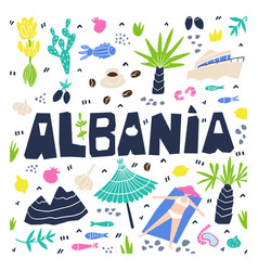 Albania flat hand drawn albania flora fauna vector