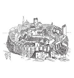 Amphitheater in arles built in middle ages vector