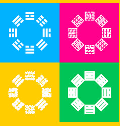Bagua sign four styles of icon on four color vector
