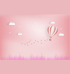 balloon flying over grass with heart float on the vector image