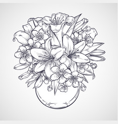 Bouquet of flowers of lily and sakura vector