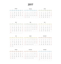 calendar 2017 year template vector image