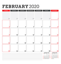 Calendar planner for february 2020 week starts on vector