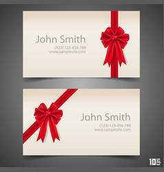 card ribbon with a bow vector image