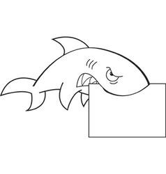 Cartoon shark holding a sign vector
