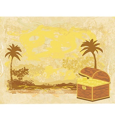 chest full of gold on abstract old paper vector image
