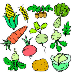 Collection stock of vegetable various doodle set vector