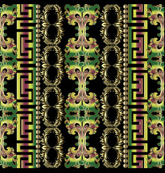 colorful ornate greek seamless borders vector image