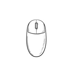 computer mouse hand drawn outline doodle icon vector image