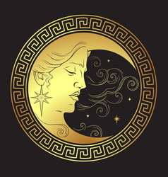 crescent moon in antique style hand drawn line art vector image