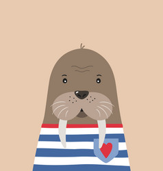 cute walrus sailor poster for baby room vector image