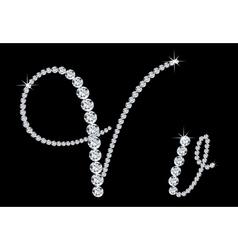 Diamond alphabetic letters v vector