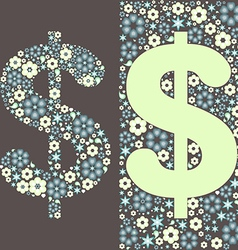 Dollar floral pattern vector