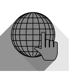 earth globe with cursor black icon with vector image