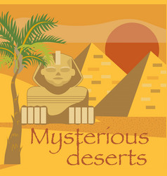 Egypt symbols and landmarks mysterious desserts vector