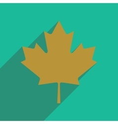 Flat icon with long shadow maple leaf vector