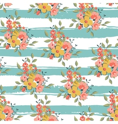 floral pattern with light blue stripes vector image