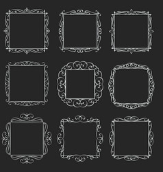 flourishes square frames vector image