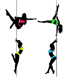 Four Pole dancers sexy silhouettesThe vector