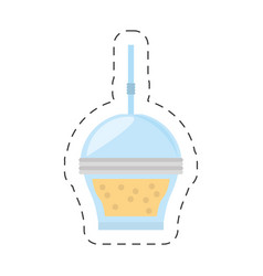 Fruit smoothie plastic cup straw cut line vector