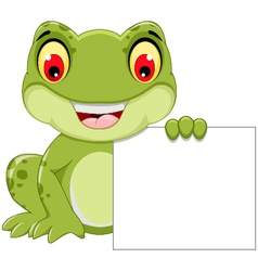 Funny frog cartoon holding a blank sign vector