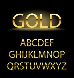 golden alphabet letters golden font type vector image
