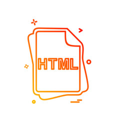 html file type icon design vector image